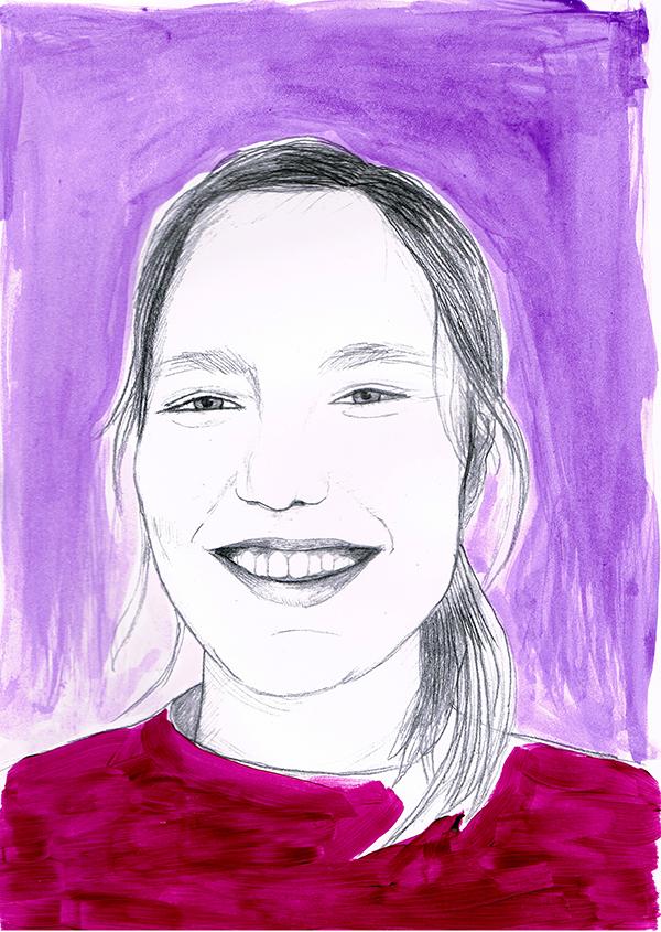 Koloriertes Porträt von Martha Wildenauer