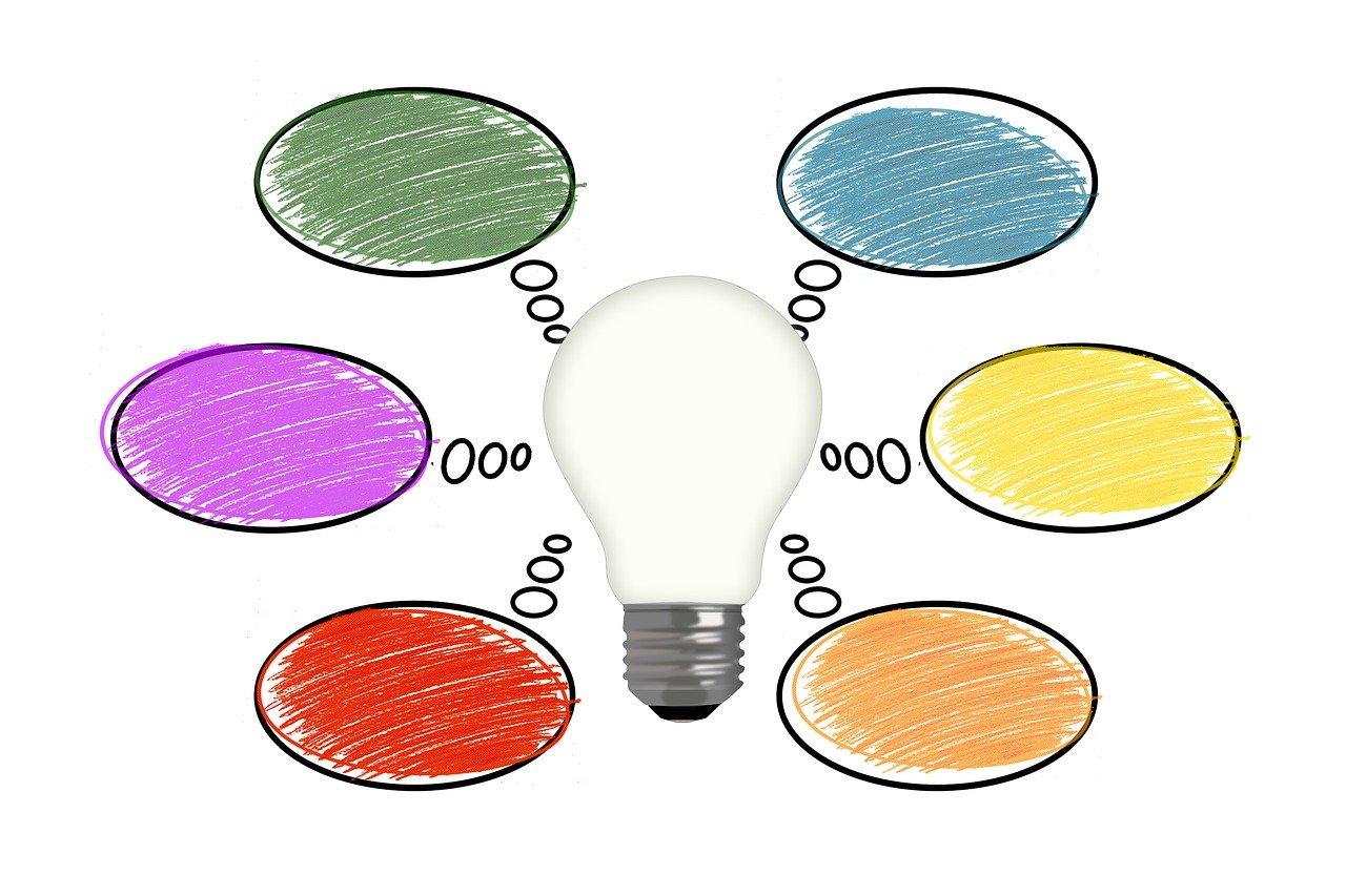 Eine Glühbirne im Zentrum symbolisiert eine Sammlung von Ideen